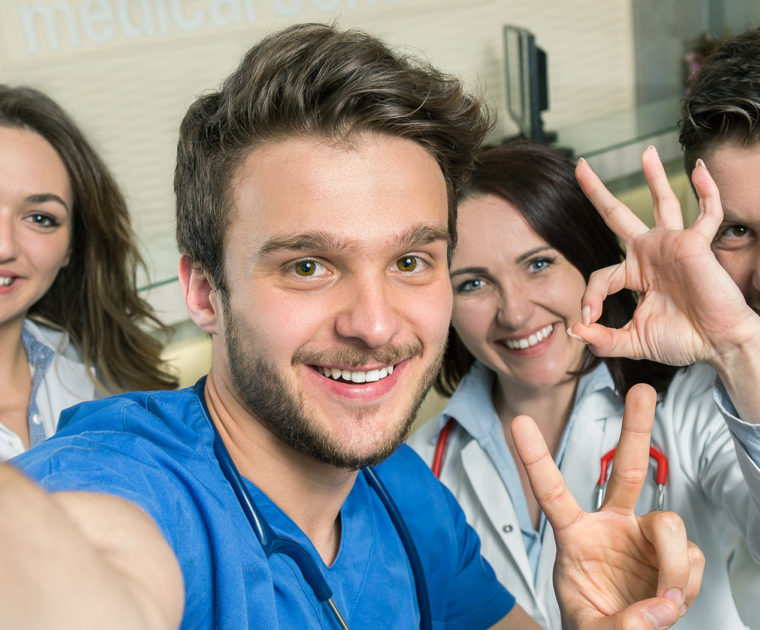 Male Nurse At Hospital Taking Selfie